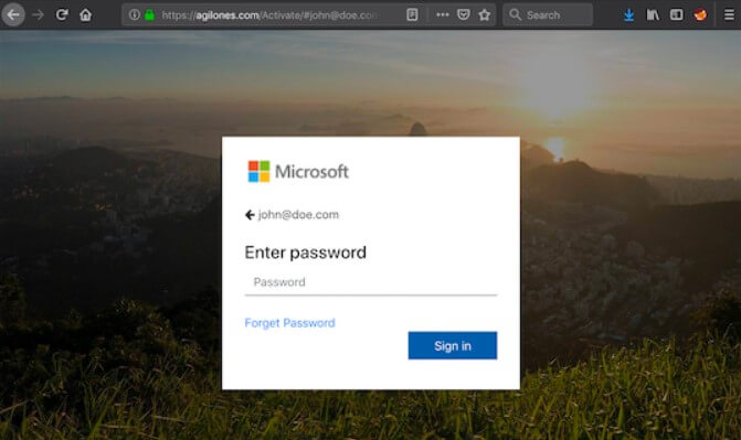 Office 365 phishing login site