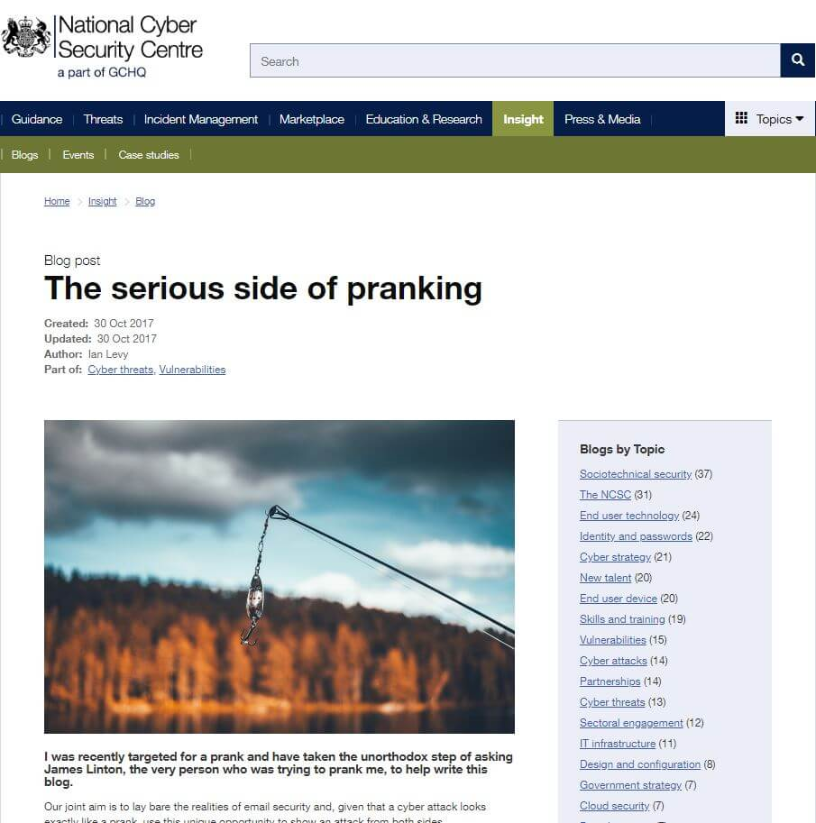 NCSC Article on Spear Phishing